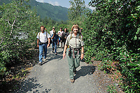 U.S. Forest Service guide Saralynn Fenwick leads hikes on the trail to Spencer Glacier. The Alaska Railroad's Spencer Glacier Whistlestop train gives visitors access to hiking, camping and stunning views.