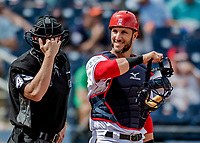 27 February 2019: Washington Nationals newly acquired catcher Yan Gomes looks back to the dugout during a pre-season game against the Houston Astros at the Ballpark of the Palm Beaches in West Palm Beach, Florida. The Nationals defeated the Astros 14-8 in their Spring Training Grapefruit League matchup. Mandatory Credit: Ed Wolfstein Photo *** RAW (NEF) Image File Available ***