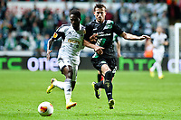 Thursday  03 October  2013  Pictured:Nathan Dyer and Ermir Lenjani of St.Gallen<br /> Re:UEFA Europa League, Swansea City FC vs FC St.Gallen,  at the Liberty Staduim Swansea