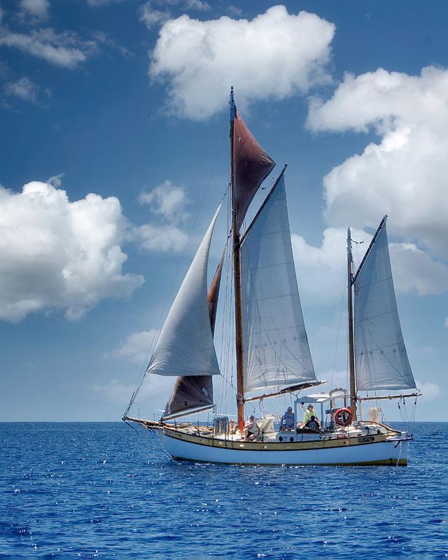 Sailboat near St. John Virgin Islands.