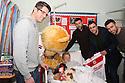 Chris Day, Jon Ashton, Peter Hartley and Steve Arnold<br /> Stevenage FC players visit Lister Hospital Children's ward.  <br />  - Lister Hospital, Stevenage - 18th December, 2013<br />  © Kevin Coleman 2013