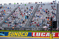 Aug 9, 2020; Clermont, Indiana, USA; NHRA fans sit in the grandstands during the Indy Nationals at Lucas Oil Raceway. Mandatory Credit: Mark J. Rebilas-USA TODAY Sports
