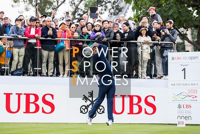 Justin Rose of England tees off during the day three of UBS Hong Kong Open 2017 at the Hong Kong Golf Club on 25 November 2017, in Hong Kong, Hong Kong. Photo by Yu Chun Christopher Wong / Power Sport Images