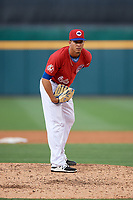 Buffalo Bisons relief pitcher Jose Fernandez (66) looks in for the sign during a game against the Lehigh Valley IronPigs on June 23, 2018 at Coca-Cola Field in Buffalo, New York.  Lehigh Valley defeated Buffalo 4-1.  (Mike Janes/Four Seam Images)