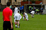 Burntisland Shipyard 0 Colville Park 7, 12/08/2017. The Recreation Ground, Scottish Cup First Preliminary Round. Dejected Burntisland players at full time. Photo by Paul Thompson.