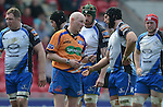 Referee Neil Paterson has words with Connacht's John Muldoon<br /> <br /> Rugby - Scarlets V Connacht  - Rabodirect Pro12 - Sunday  30th March  2014 - Parc-y-Scarlets - Llanelli<br /> <br /> © www.sportingwales.com- PLEASE CREDIT IAN COOK