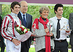 Cirrus Des Aigles (no. 4), ridden by Christophe Soumillon and trained by Corine Barande-Barbe, wins the group 2 Prix Dollar for three year olds and upward on October 5, 2013 at Longchamp Racecourse in Paris, France.  (Bob Mayberger/Eclipse Sportswire)