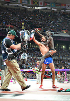 August 05, 2012..Ezekiel Kemboi and Mahiedine Mekhissi-Benabbad celebrate victory in Men's 3000m Steeplechase at the Olympic Stadium on day nine of 2012 Olympic Games in London, United Kingdom..