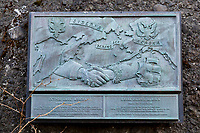 Plaque commemorates the Russian exploration expedition that landed on Kayak Island in 1741, Gulf of Alaska, southcentral, Alaska.