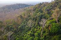 Aerial view of the Phnom Tnout Phnom Pok Wildlife Sanctuary, in Songkom Thmey District, Preah Vihear Province, northern Cambodia.