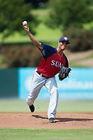 Hagerstown Suns starting pitcher Carlos Pena (21) in action against the Kannapolis Intimidators at Kannapolis Intimidators Stadium on July 9, 2017 in Kannapolis, North Carolina.  The Intimidators defeated the Suns 3-2 in game one of a double-header.  (Brian Westerholt/Four Seam Images)