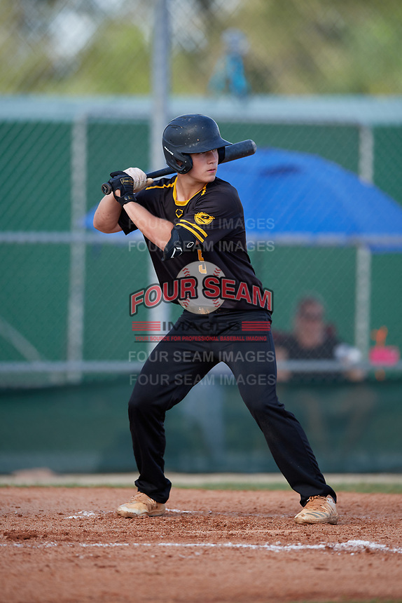 Brooks Brannon (5) during the WWBA World Championship at Terry Park on October 11, 2020 in Fort Myers, Florida.  Brooks Brannon, a resident of Winston-Salem, North Carolina who attends Randleman High School, is committed to North Carolina.  (Mike Janes/Four Seam Images)