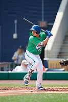 Hartford Yard Goats catcher Dom Nunez (9) at bat during a game against the Trenton Thunder on August 26, 2018 at Dunkin' Donuts Park in Hartford, Connecticut.  Trenton defeated Hartford 8-3.  (Mike Janes/Four Seam Images)
