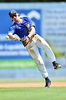Asheville Tourists shortstop Ryan Vilade (10) throws to first base during a game against the Rome Braves at McCormick Field on September 3, 2018 in Asheville, North Carolina. The Tourists defeated the Braves 5-4. (Tony Farlow/Four Seam Images)