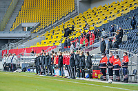 Staff and substitues pictured before a friendly female soccer game between the national teams of Germany and  Belgium , called the Red Flames  in a pre - bid tournament called Three Nations One Goal with the national teams from Belgium , The Netherlands and Germany towards a bid for the hosting of the 2027 FIFA Women's World Cup , on Sunday 21 st of February 2021  in Aachen , Germany . PHOTO SPORTPIX.BE   SPP   STIJN AUDOOREN