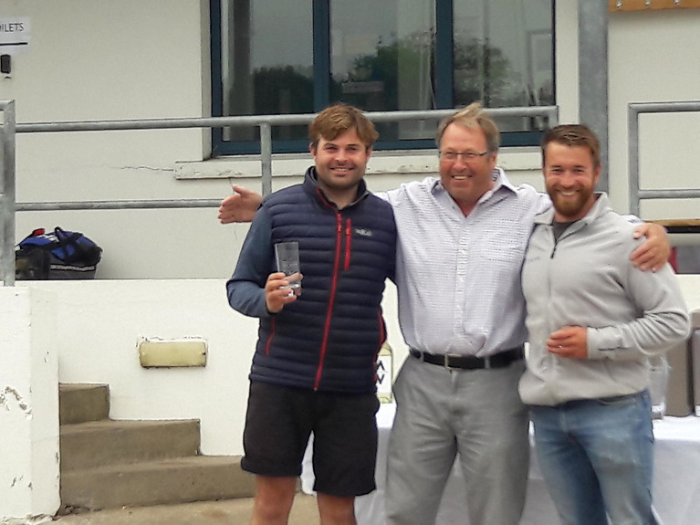 Peter Chamberlain (3rd placed crew), Roger Chamberlain (5th placed helm) and Andrew (Hammy) Baker (3rd placed helm).