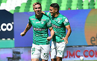 PALMIRA - COLOMBIA, 14-10-2020: Agustin Palavecino del Cali celebra después de anotar el primer gol de su equipo durante partido entre Deportivo Cali y Boyacá Chicó F.C. por la fecha 14 de la Liga BetPlay DIMAYOR I 2020 jugado en el estadio Deportivo Cali de la ciudad de Palmira. / Agustin Palavecino of Cali celebrates after scoring the first goal of his team during match between Deportivo Cali and Boyaca Chico F.C. for the date 14 as part of BetPlay DIMAYOR League I 2020 played at Deportivo Cali stadium in Palmira city.  Photo: VizzorImage / Nelson Rios / Cont