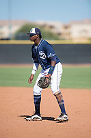 San Diego Padres first baseman Yerry Landinez (87) during an Instructional League game against the Milwaukee Brewers at Peoria Sports Complex on September 21, 2018 in Peoria, Arizona. (Zachary Lucy/Four Seam Images)