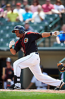 Rochester Red Wings outfielder Reynaldo Rodriguez (23) at bat during a game against the Norfolk Tides on May 3, 2015 at Frontier Field in Rochester, New York.  Rochester defeated Norfolk 7-3.  (Mike Janes/Four Seam Images)