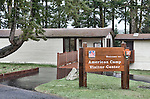 April showers dampen outside but inside the American Camp Visitor Center is warm and informative.   San Juan Islands group, Salish Sea, Washington State, USA