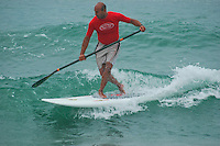Saturday, June 14, 2008, Tourmaline Surf Park, Pacific Beach, San Diego, CA, USA.  Andre Niemeyer competes in the Stand-Up Paddle competition during the Pacific Beach Surf Club's Tenth Annual Longboard Classic at Tourmaline Surfing Park.  The event was well attended despite gray, June gloom clouds and fickle, windy surf conditions.
