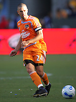 Houston Dynamo defender and Captain Wade Barrett (24) passes down field late in the first half. The Houston Dynamo defeated the LA Galaxy 3-1 at the Home Depot Center in Carson, CA, Sunday, September 16, 2007.