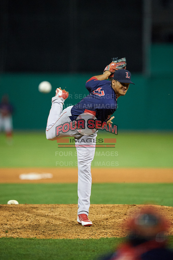 Lowell Spinners relief pitcher Anyelo Gómez (47) during a NY-Penn League game against the Batavia Muckdogs on July 11, 2019 at Dwyer Stadium in Batavia, New York.  Batavia defeated Lowell 5-2.  (Mike Janes/Four Seam Images)