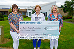 Catherine Kelly from Beaufort presents a cheque of €1,000 to  the Kerry Hospice Foundation from her 20000 Steps A Day in March. L to r: Evelyn Doody, Mary Shanahan and Catherine Kelly.