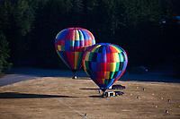 Multicolored Hot Air Balloons, Arlington, WA, USA.