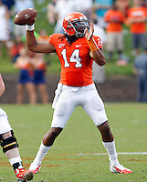 Virginia Cavaliers quarterback Phillip Sims (14) passes the ball during the second half of an NCAA football game against the Richmond Spiders Saturday September, 1, 2012 at Scott Stadium in Charlottesville, Va. Virginia defeated Richmond 43-19.