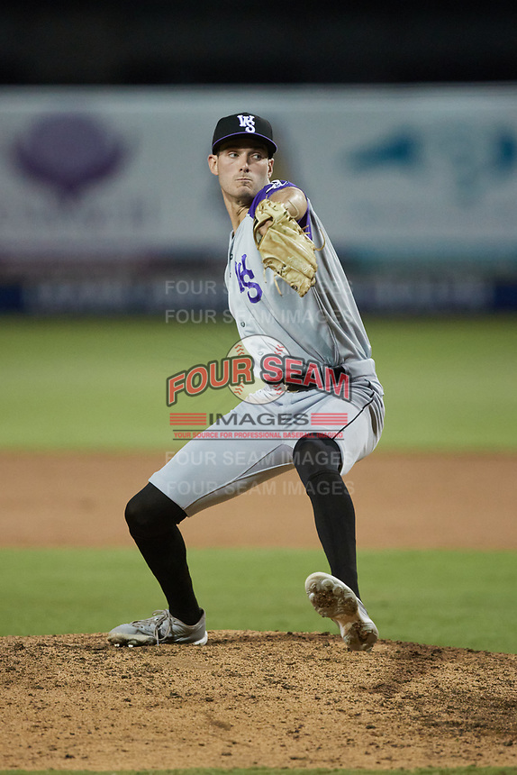 Winston-Salem Dash relief pitcher Lane Ramsey (22) in action against the Greensboro Grasshoppers at First National Bank Field on June 3, 2021 in Greensboro, North Carolina. (Brian Westerholt/Four Seam Images)