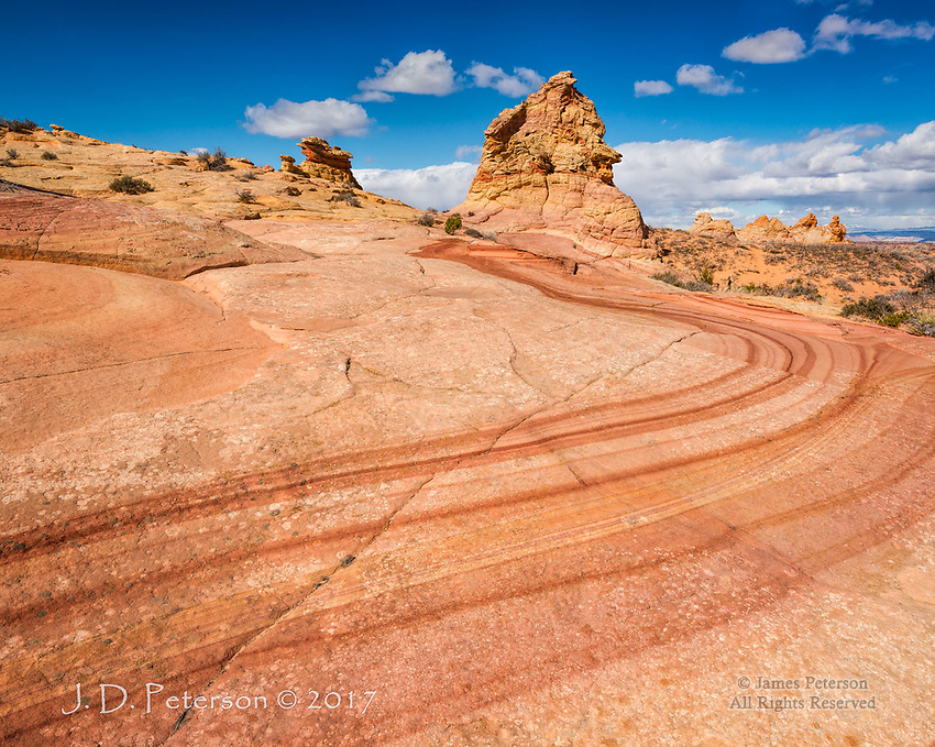 The Swirl, Coyote Buttes South, Arizona ©2017 James D Peterson.  This curving band of color reminds me of the yellow brick road.  It leads into a wonderland of amazing forms and colors.