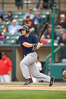 Toledo Mudhens first baseman Chad Huffman (17) at bat during a game against the Rochester Red Wings on June 12, 2016 at Frontier Field in Rochester, New York.  Rochester defeated Toledo 9-7.  (Mike Janes/Four Seam Images)