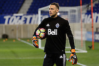 Harrison, NJ - Wednesday Feb. 22, 2017: Paolo Tornaghi prior to a Scotiabank CONCACAF Champions League quarterfinal match between the New York Red Bulls and the Vancouver Whitecaps FC at Red Bull Arena.