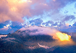 Sunset at Forest Canyon overlook, Rocky Mountain National Park, Colorado