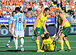The Hague, Netherlands, June 13: Jacob Whetton #12 of Australia is congratulated by teammates during the field hockey semi-final match (Men) between Australia and Argentina on June 13, 2014 during the World Cup 2014 at Kyocera Stadium in The Hague, Netherlands. Final score 5-1 (3-0)  (Photo by Dirk Markgraf / www.265-images.com) *** Local caption ***