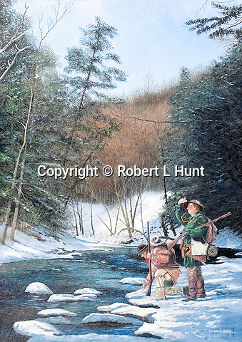 """Woodsmen and Indian traders John Hart and Stephen Franks pause at Trough Creek while hunting in winter snow in the Pennsylvania wilderness near present day Entriken and Raystown Lake, circa 1760. Oil on canvas, 28"""" x 20""""."""