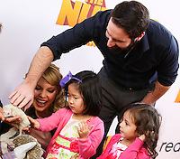 """LOS ANGELES, CA - JANUARY 11: Actress Katherine Heigl daughter Nancy Leigh Kelley, husband Josh Kelley and daughter Adalaide Marie Hope Kelley arrive at the World Premiere Of Open Road Film's """"The Nut Job"""" held at Regal Cinemas L.A. Live on January 11, 2014 in Los Angeles, California. (Photo by Xavier Collin/Celebrity Monitor)"""
