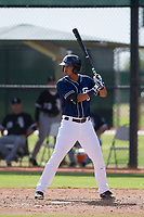Kelvin Alarcon (39) of the San Diego Padres at bat during an Instructional League game against the Chicago White Sox on September 26, 2017 at Camelback Ranch in Glendale, Arizona. (Zachary Lucy/Four Seam Images)