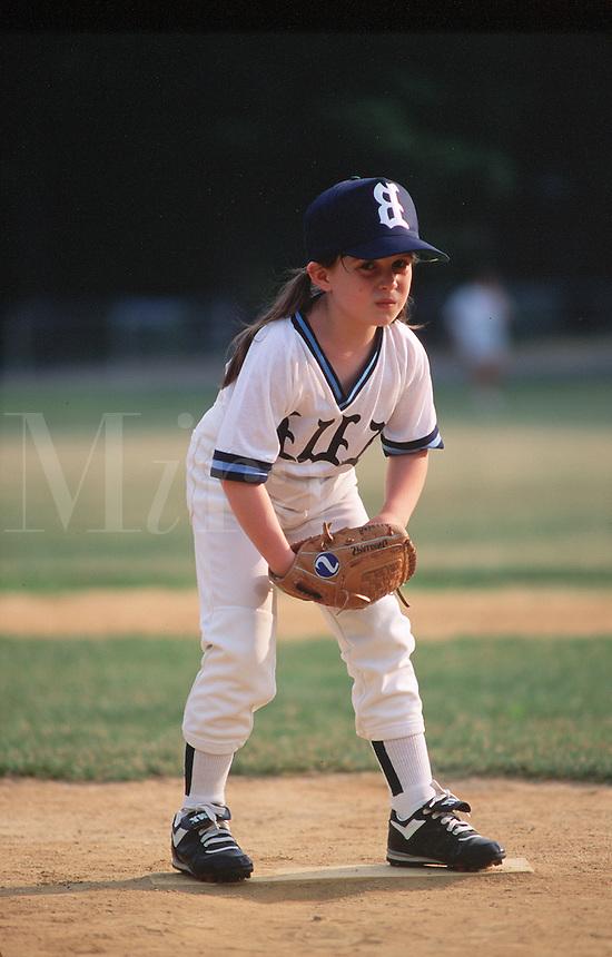 Pitcher on girls' softball team.
