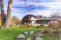 France, Loiret (45), Nogent-sur-Vernisson, arboretum national des Barres ou Arbofolia, le pavillon d'accueil // France, Loiret, Nogent sur Vernisson, National Arboretum of Barres or Arbofolia, the reception pavilion