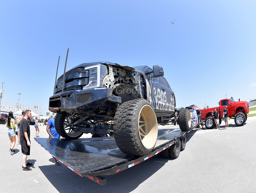 DAYTONA BEACH, FL - SEPTEMBER 05:  Whistlin Diesel Truck at the 2020 Daytona Truck Meet which is The LARGEST truck show in the world! PRESENTED BY AMERICAN FORCE WHEELS with over 35,000 spectators, 100s of vendors, burn out pit, and live entertainment. Trucks are all the rage with Celebrities like Shaquille O'Neal, Lady GaGa, Dwayne Johnson and Kid Rock just to name a few at Daytona International Speedway on September 5, 2020 in Daytona Beach, Florida.<br /> <br /> People:  General Views