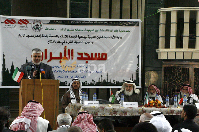 Palestinian legislative council members and members of Kuwaiti delegation attend the opening ceremony of al-Abrar mosque, which was destroyed during the Israeli war on Gaza Strip in 2008-2009, in the southern Gaza Strip town of Rafah on Feb. 24,2012. Photo by Abed Rahim Khatib
