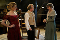 """© Jane Hobson. 13/01/2011. Arcola Theatre reopens in its new venue with """"The Painter"""", by Rebecca Lenkiewicz. From left to tight: Denise Gough as Jenny Cole, Toby Jones as Turner and Niamh cusack as Sarah Danby. Picture credit should read: Jane Hobson"""