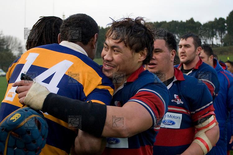 CMRFU Counties Power 2008 Club rugby McNamara Cup Premier final between Ardmore Marist & Patumahoe played at Growers Stadium, Pukekohe on July 26th.  Ardmore Marist won 9 - 8.