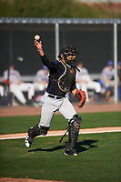 Kevin Ortiz (16) of William B. Travis High School  in Richmond, Texas during the Baseball Factory All-America Pre-Season Tournament, powered by Under Armour, on January 13, 2018 at Sloan Park Complex in Mesa, Arizona.  (Zachary Lucy/Four Seam Images)