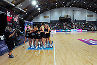 The Silver Ferns huddle before the final quarter of the Cadbury Netball Series final between NZ Silver Ferns and NZ Men at the Fly Palmy Arena in Palmerston North, New Zealand on Saturday, 24 October 2020. Photo: Dave Lintott / lintottphoto.co.nz