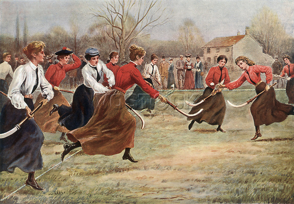 A ladies' hockey match     Date: 1902     Source: S T Dadd in 'Sporting Pictures'
