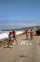 San Diego: Traffic on Ocean Front Walk, South Pacific Beach.  (Photo 1982)