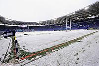 """Il campo innevato.Roma 11/20/2012 Stadio """"Olimpico"""".Rugby 6 Nations Tournament - Torneo delle 6 Nazioni 2012.Italia Vs Inghilterra - Italy Vs England .Foto Insidefoto Andrea Staccioli"""